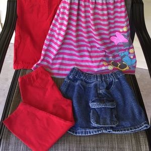 Set of 4pc Kids Size 6T Girl's Dresses Pants Skirt